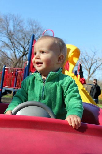 Driving the car at the playground