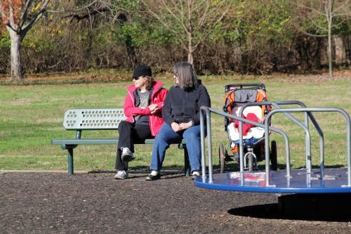 Mandi and mom at the playground
